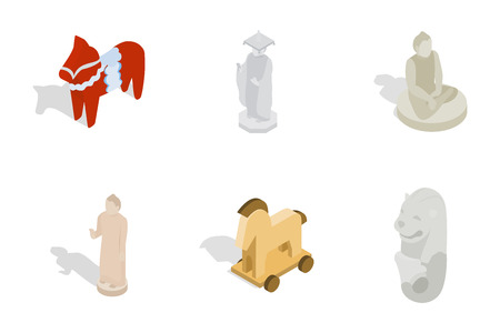 Statue icon set. Isometric set of statue vector icons for web design isolated on white background