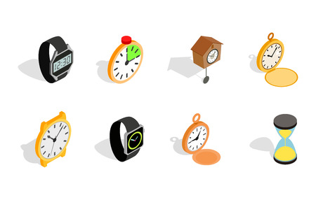 Watch icon set. Isometric set of watch vector icons for web design isolated on white background