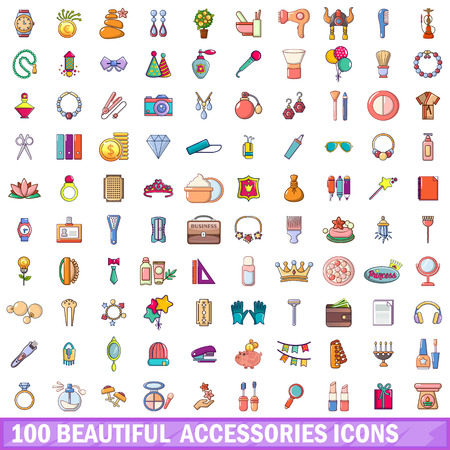 100 beautiful accessories icons set. Cartoon illustration of 100 beautiful accessories vector icons isolated on white background