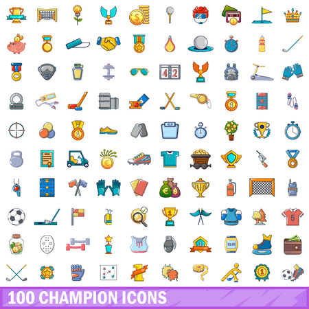 100 champion goods icons set. Cartoon illustration of 100 champion vector icons isolated on white background