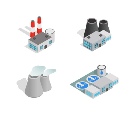 Factory icon set. Isometric set of factory vector icons for web design isolated on white background Illustration
