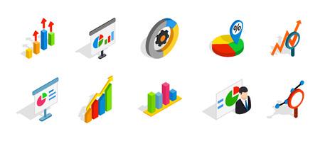 Diagram icon set. Isometric set of diagram vector icons for web design isolated on white background Illustration