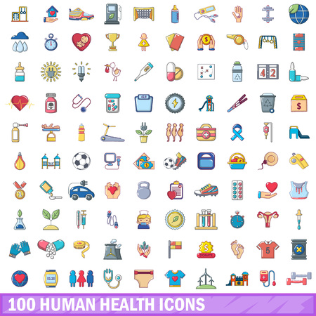 100 human health icons set. Cartoon illustration of 100 human health vector icons isolated on white background