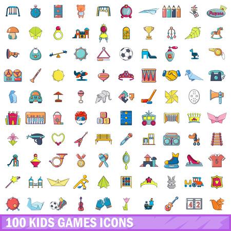 100 jeux d'icônes de jeux d'enfants, style cartoon Banque d'images - 90023678