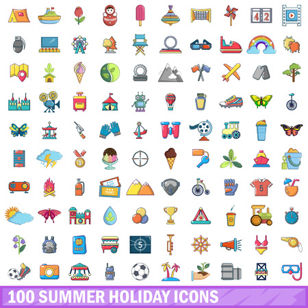 100 summer holiday icons set, cartoon style Illustration