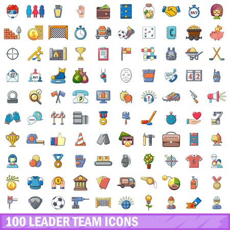 100 leader team icons set.