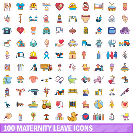 100 maternity leave icons set.
