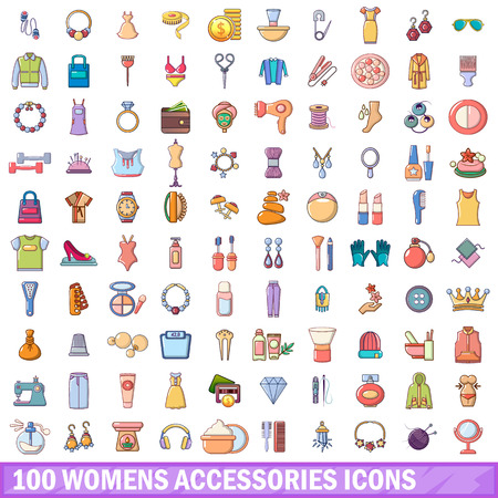 100 womens accessories icons set. Cartoon illustration of 100 womens accessories vector icons isolated on white background Stock Illustratie