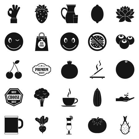 Vegetarian cafe icons set. Simple set of 25 vegetarian cafe vector icons for web isolated on white background 일러스트