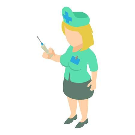 Nurse icon. Isometric illustration of nurse vector icon for web