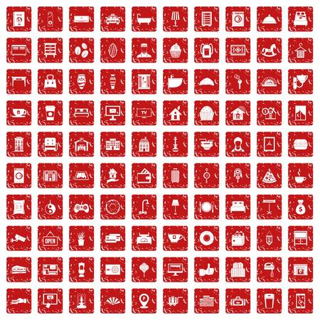 100 hotel icons set in grunge style red color isolated on white background vector illustration