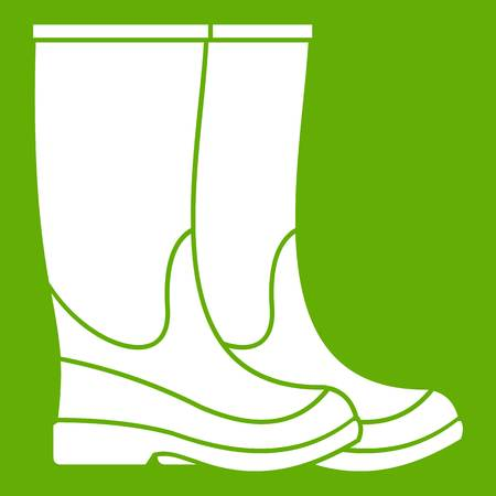 zapatos de seguridad: Boots icon white isolated on green background. Vector illustration