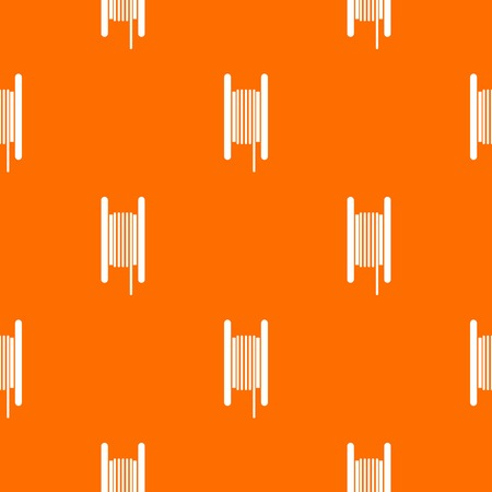 Electric cable in coil pattern repeat seamless in orange color for any design. Vector geometric illustration Illustration