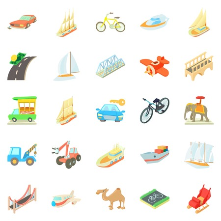 Fast driving icons set. Cartoon set of 25 fast driving vector icons for web isolated on white background