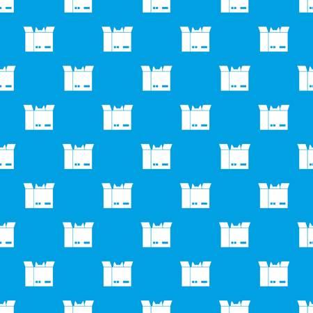 段ボール箱のパターンで猫を青の色、デザインではシームレスに繰り返します。ベクトルの幾何学的な図