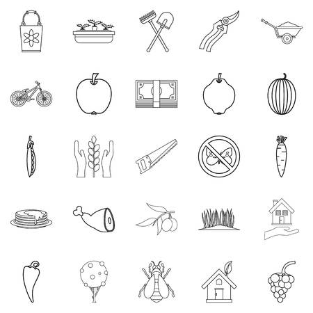 Cultivator icons set. Outline set of 25 cultivator vector icons for web isolated on white background Illustration