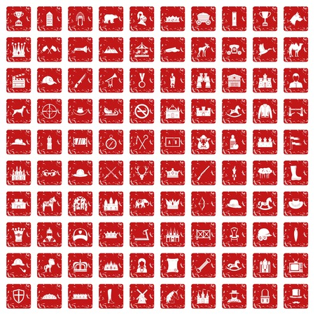 100 horsemanship icons set in grunge style red color isolated on white background vector illustration