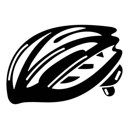 Bike helmet protection icon, simple black style Illustration