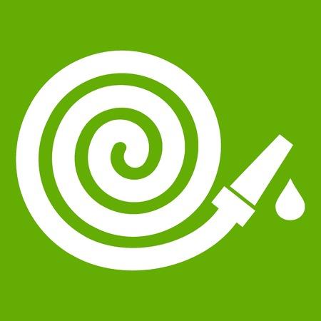 rubber tube: Garden hose icon green Illustration