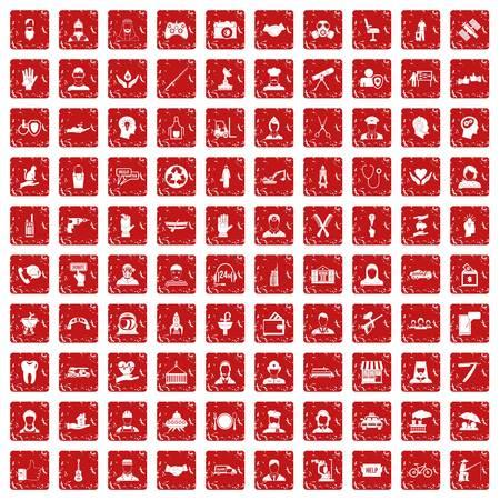 100 人材アイコン設定グランジ赤  イラスト・ベクター素材
