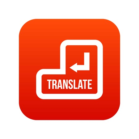 Translate button icon digital red for any design isolated on white vector illustration Vetores