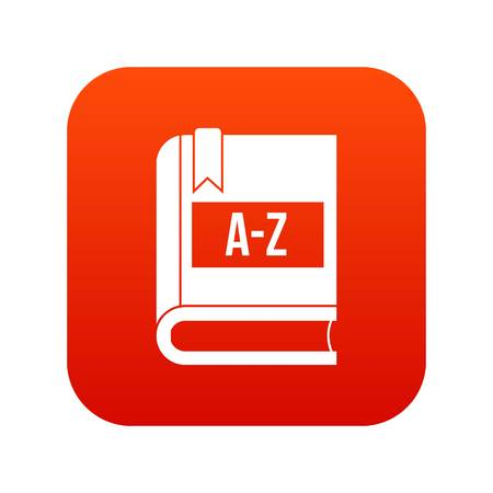 Dictionary book icon digital red