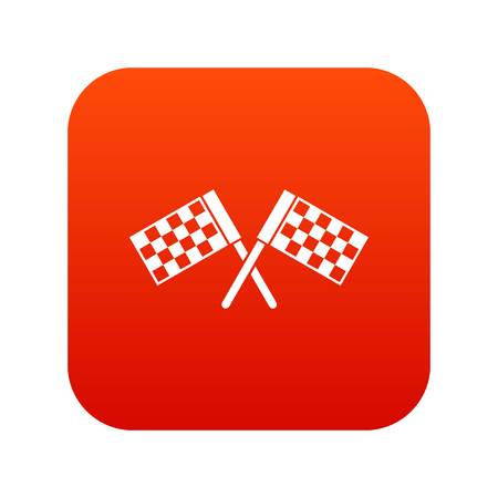 Crossed chequered flags icon digital red