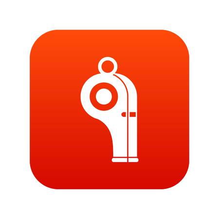 Sport whistle icon digital red