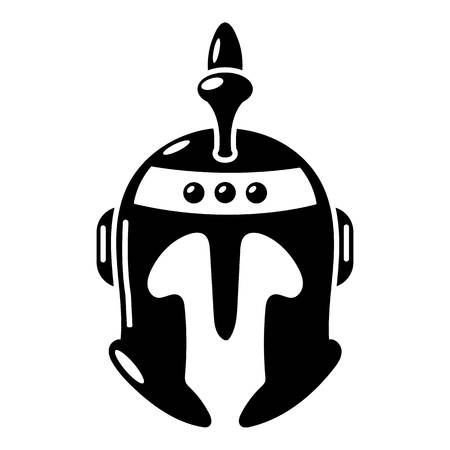 Knight helmet icon, simple black style Illustration