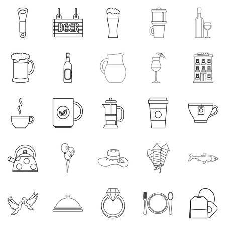 Spirit icons set, outline style