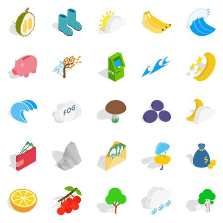 viable: Lifelong icons set, isometric style