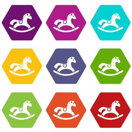Rocking horse icon set color hexahedron Illustration