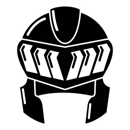 Knight helmet medieval icon, simple black style Illustration