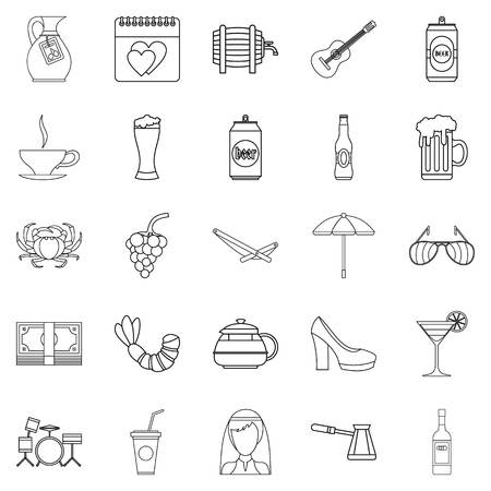 Set di icone di bevanda forte, struttura di stile