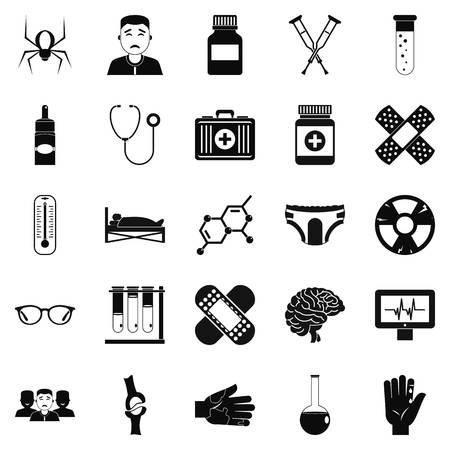 Ambulance car icons set, simple style