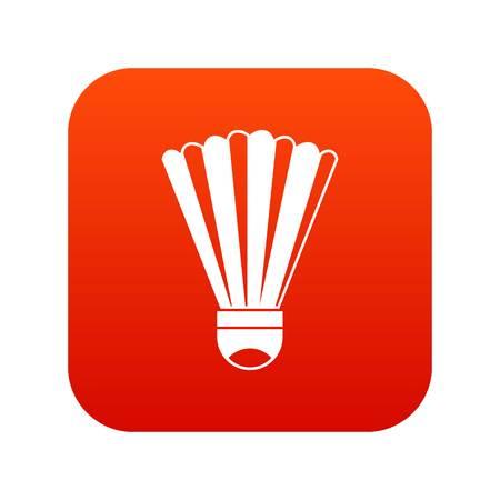 Shuttlecock icon digital red