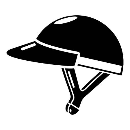 Bike helmet girl icon, simple black style Illustration
