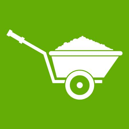 Garden wheelbarrow icon green