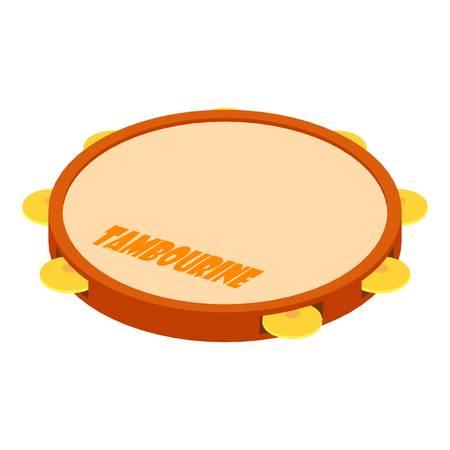 Tambourine icon, isometric style