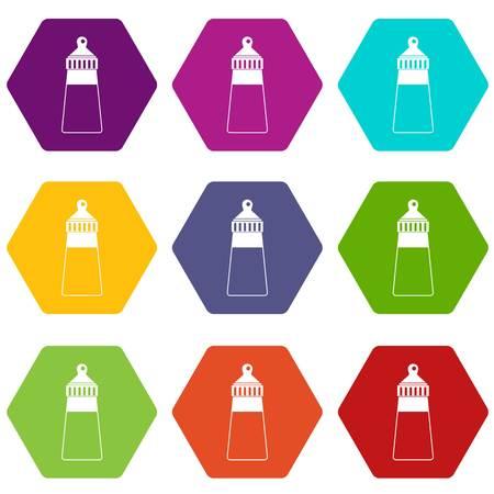 Baby milk bottle icon set color hexahedron