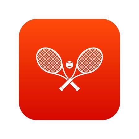 Crossed tennis rackets and ball icon digital red Ilustração