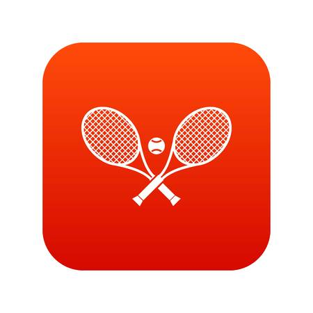Crossed tennis rackets and ball icon digital red Vettoriali