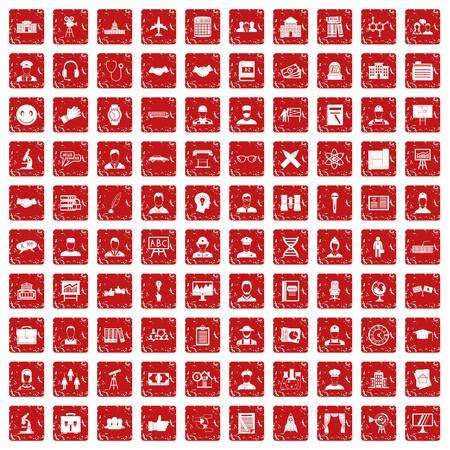 100 intelligent icons set in grunge style red color isolated on white background vector illustration Ilustração