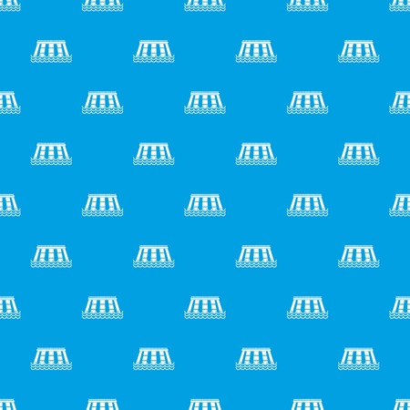 Hydroelectric power station pattern repeat seamless in blue color for any design. Vector geometric illustration