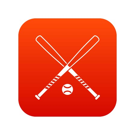 Crossed baseball bats and ball icon digital red
