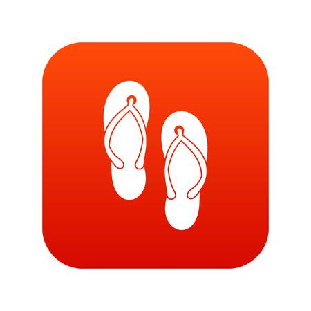 Beach thongs icon digital red