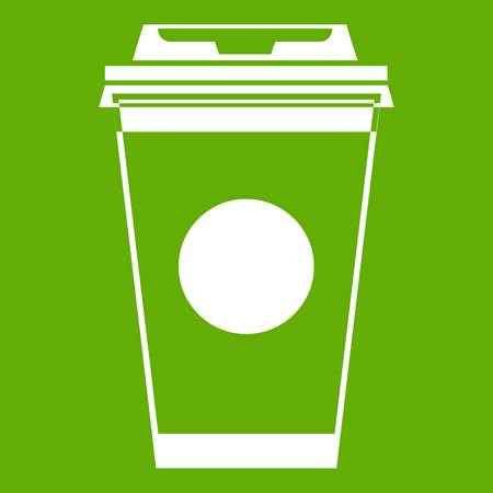 Paper coffee cup icon green