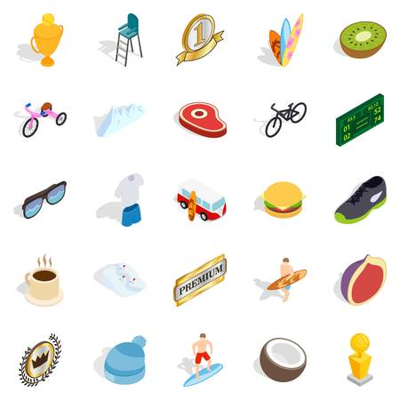 Solution search icons set, isometric style Illustration