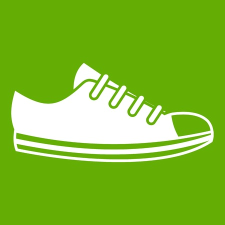 Canvas sneaker icon green Illustration