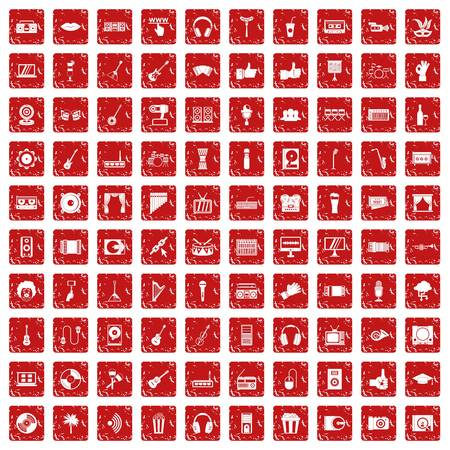 100 karaoke icons set in grunge style red color isolated on white background vector illustration Stock Illustratie
